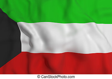 Kuwait flag - 3d rendering of a Kuwait flag waving