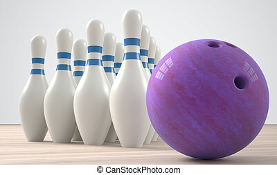 bowling alley - bowling pins standing next to a bowling ball