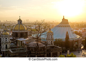 Scenic view at Basilica of Guadalupe with Mexico city...
