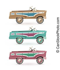 Set of three vintage, toy pedal car.