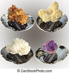 Colección, de, muestras, de, minerales, aragonite,...