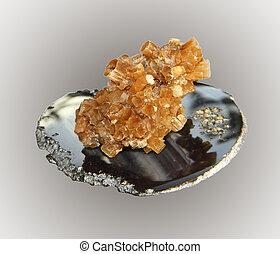 muestra, aragonite, Cristales, en, un, ágata, piedra,...