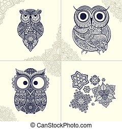Vector illustration of ornamental owl. Bird illustrated in tribal. Set of ornamental owls with flowers and pattern from owls.