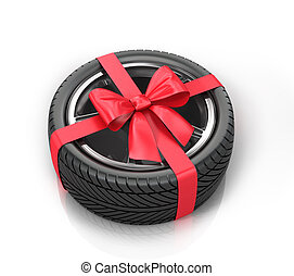 Car wheel wrap a red ribbon with a bow on a white background...