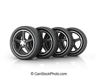Four car wheels on a white background