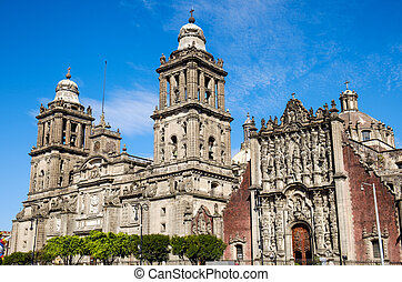 Detail view of Cathedral Metropolitana in Mexico city,...