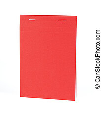Blank red notebook isolated on white background.