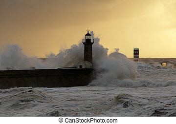 Stormy sea waves at winter sunset - Big stormy sea waves...