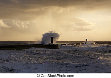 Stormy waves at winter sunset - Wide view of big stormy sea...