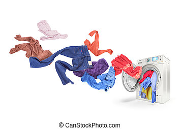 Colored laundry flying from washing machine, isolated on...
