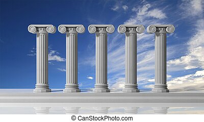 Five ancient pillars with blue sky background.