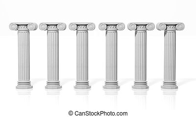 Six ancient pillars, isolated on white background.
