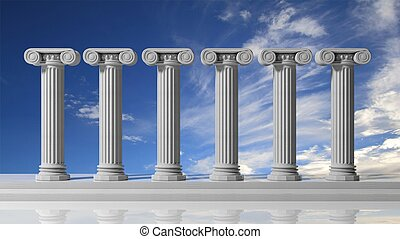 Six ancient pillars with bluet sky background.