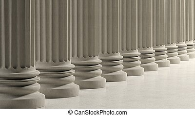 Ancient pillars in a row on marble floor.