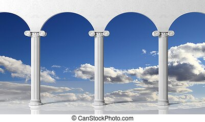 Tree ancient pillars with blue sky background.