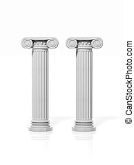 Two ancient pillars, isolated on white background.