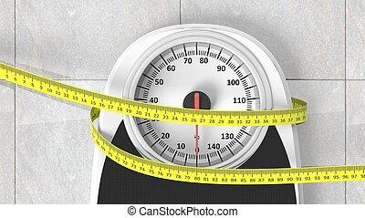 medición, cuarto de baño, escala, piso, Primer plano, cinta