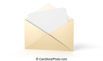 Open yellow envelope with white blank paper sheet, isolated...
