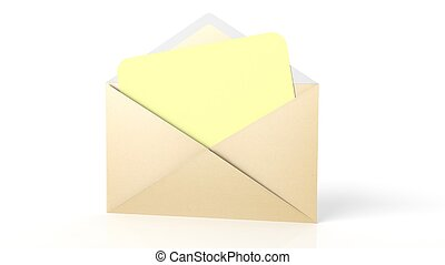 Open yellow envelope with yellow blank paper sheet, isolated...