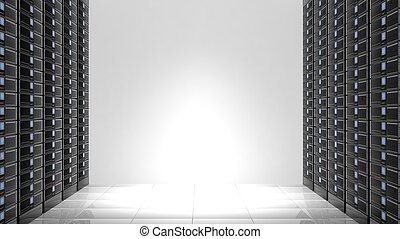 Network servers, isolated on white background with copy-space