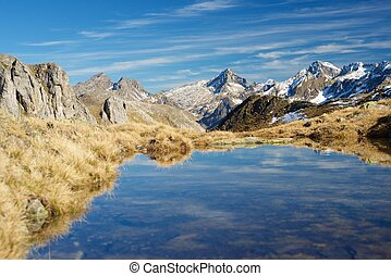 Pyrenees - Mountains in Ossau Valley, Pyrenees National...