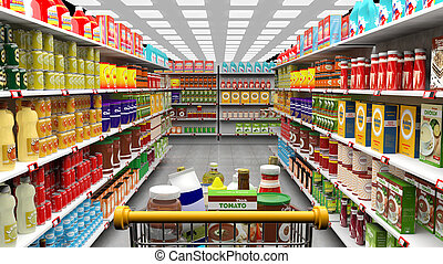 Supermarket interior, shelves with various products and full...