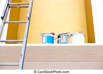 Selected focus buckets color paint with paint brush on top...