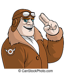 Aviator saluting - Isolated illustration of an Aviator...
