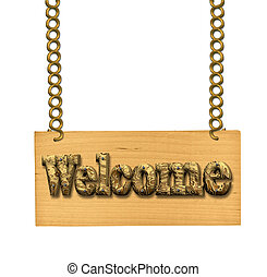 Wooden sign on the chains - Wooden sign invitation to join...