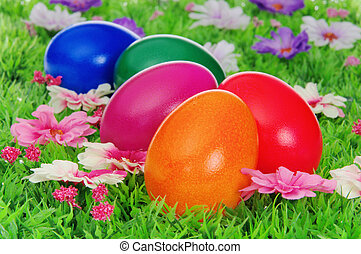 easter eggs on flower meadow 20