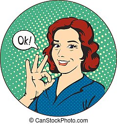 Woman says okay in the circle pop art comics retro style...