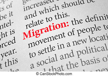 Definition of the word Migration in a dictionary