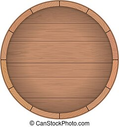 Round wooden barrel for wine Round wooden signboard Vector...