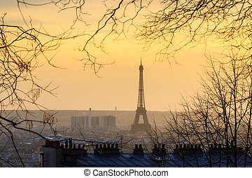 Eiffel see through - Paris sunset cityscape with the Eiffel...