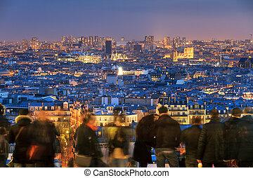 Paris skyline tourists