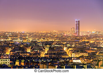 Montparnasse night skyline - Beautiful Paris night cityscape...