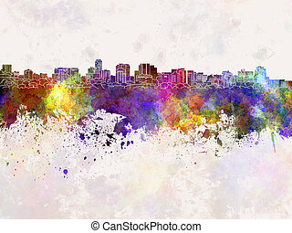 Parramatta skyline in watercolor background