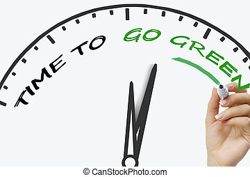 Hand writing Time to go green concept with marker on...