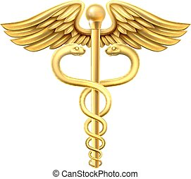 Gold Caduceus - A gold caduceus medical symbol or symbol for...