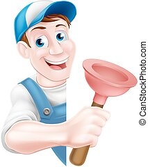 Cartoon Plumber Holding Plunger - A cartoon plumber man in a...