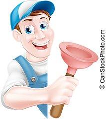 Cartoon Plumber Holding Plunger - A cartoon plumber man in a...