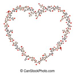 Valentine's day vector frame for text, composition of curly...