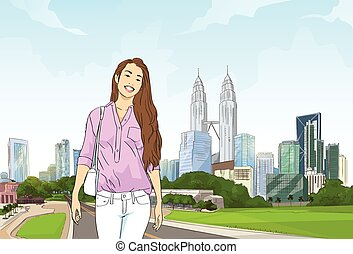 Asian Girl Over Road Modern City Cityscape