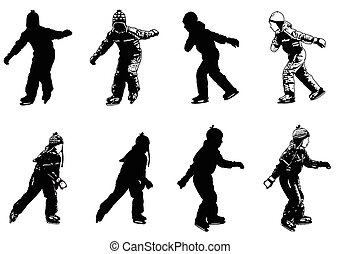 ice skating kids silhouettes - vector