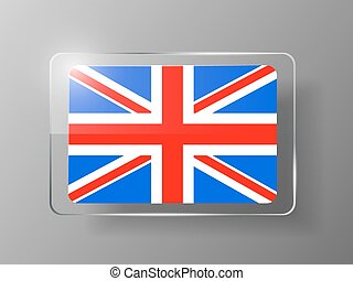 British Flag Glossy Button. Vector illustration.