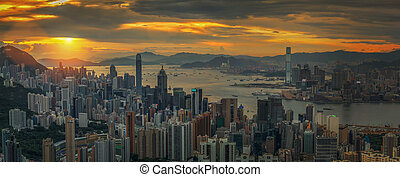 Hong kong sky with sunset - Hong kong city and sky with...