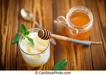 griego, yogur, con, miel,