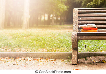 Stack of hardback books and Open book lying on bench at...