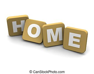 Home text. 3d rendered illustration isolated on white.
