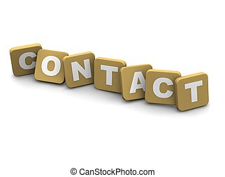 Contact text. 3d rendered illustration isolated on white.